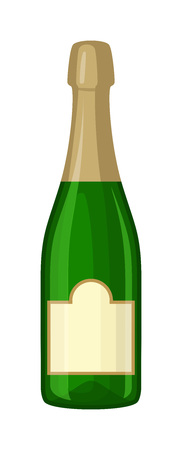 champagne celebration: Champagne bottle and champagne glass vector illustration. Alcohol celebration wine isolated champagne bottle. Holiday gold glass new year party beverage champagne romantic drink bottle.