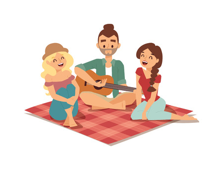 entertainer: Romantic couple of lovers playing on old fashioned mini guitar song. Nostalgic retro guitar song concept of love faces of boyfriend and girlfriend. Guitar song musician classic play rock musical melody. Illustration