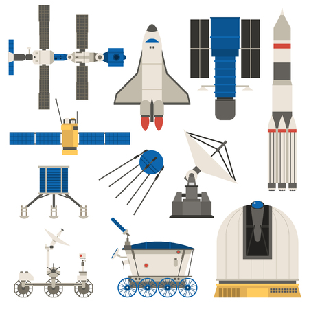 planet futuristic: Collection space ship, planets space transport science technology. Fantasy shuttle space ship and universe future planet space transport. Cosmonaut futuristic isolated cartoon fly vector technology.