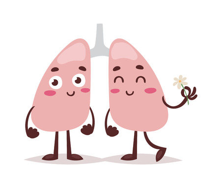 Sketch clean healthy lungs, vector sketch hand drawn illustration isolated on white background, Cartoon funny human red beautiful healthy lungs. Person clean healthy lungs anatomy caracter.
