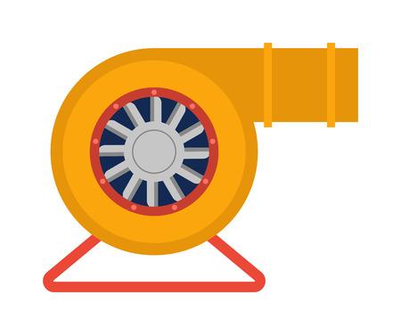 Industrie-Fan zu Wasserschäden zu entfernen. Technologie elektrischer Kühlleistung Ausrüstung Industrie-Fan. Vector Lüftungs Turbine Industrieventilator kalt Anlage Lüftungsmotor Klinge Zustand Bau. Vektorgrafik