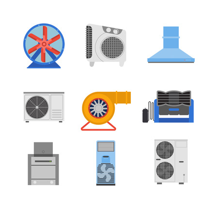 electric turbine: Industrial fan to remove water damage. Technology electric cooling power equipment industrial fan. Vector ventilation turbine industrial fan cold conditioner vent engine blade condition construction.