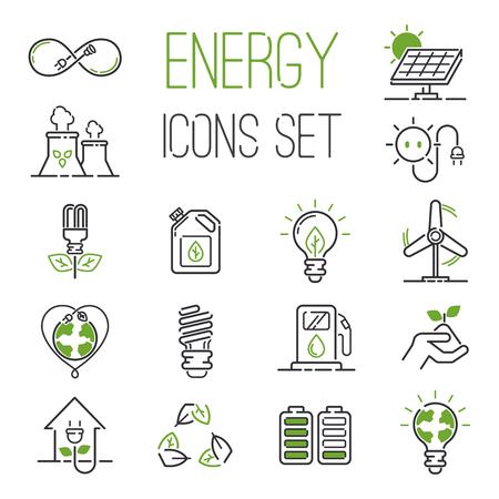 Vector eco vert icônes d'énergie définies. icônes d'énergie régler la puissance batterie environnement d'huile nature. atome maison nucléaire renouvelables icônes d'énergie. Ampoule électricité eau nature de l'industrie écologique renouvelable. Banque d'images - 60173158