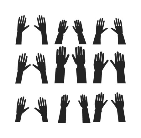 human touch: Flat human hands isolated creativity concept. Hands fingers symbol isolated, flat style hands working. Touch vector human hand drawn elements. People body parts