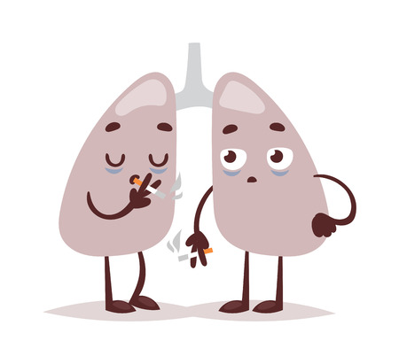 diseased: Respiratory system smoker lungs. Lung cancer smoker health disease tobacco medicine organ isolated on white vector illustration. Human smokers lungs respiratory organ care anatomy concept.