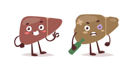Alcoholic liver harm disease. Fatty liver fibrosis hepatitis cirrhosis of alcohol harm vector illustration. Lifestyle problem unhealthy alcohol harm can cause liver damage social cartoon concept. Stock Illustratie