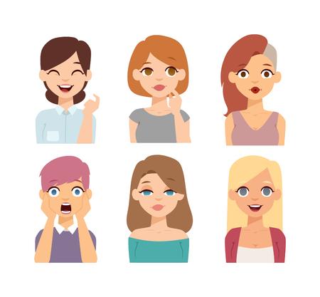 Grupa dziewcząt twarz awatary narodowość wyścigu. Płaski znaków projektowe kobieta ludzie zamieszkujący wyścigu. Ustaw różne awatary Dziewczyny Ludzie zamieszkujący race. Różne style twarz kobiety narodowości włosów. Ilustracje wektorowe