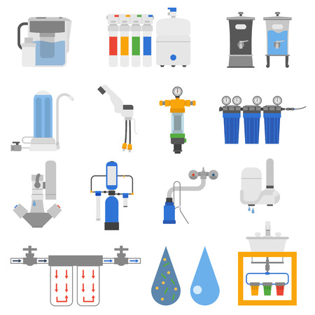 water filter: Set of water filter color silhouette icon style isolated on white background. Reverse osmosis system water filters system home fresh container. Vector water filters purity equipment purification.