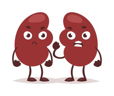Harnwege Niereninfektion Anatomie Nieren-Vektor-Illustration. Wissenschaft Krebsmedizin Entzündung Niereninfektion Pflege schmerzhafte Blase. Wütend krank Organschmerzen Niereninfektion Charakter.