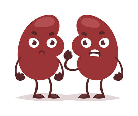 Urinary tract infekcja nerek anatomii ilustracji wektorowych nerek. Nauka raka medycyna zapalenie nerek infekcja pęcherza opieki bolesne. Zły chory ból narządów zakażenia nerek znaków.