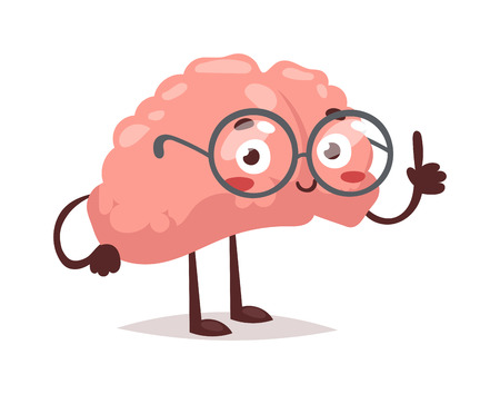 Smart brain character cartoon mind cute human organ. Creativity concept graphic smart brain character Genius medical imagination smart brain character success comic vector exercise.