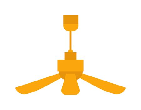 Electric room ceiling fan vector. Climate blower appliance office ventilator room fan. Circulation interior cooling propeller room fan light, conditioner equipment hot electrical temperature motion.