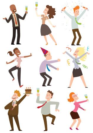 Glückliche Geschäftsleute, die im Büro Partei Vektor-Illustration tanzen. Feiern Spaß Geschäfts glücklich Büroparty Menschen. Büroparty Menschen Alkohol-Manager zusammen Freunden Urlaub. Standard-Bild - 59341375