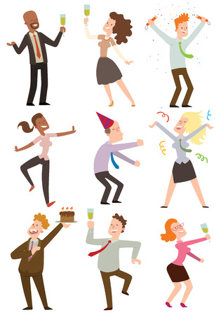 office party: Happy business people dancing at office party vector illustration. Celebration fun business happy office party people. Office party people alcohol manager together holiday friends.