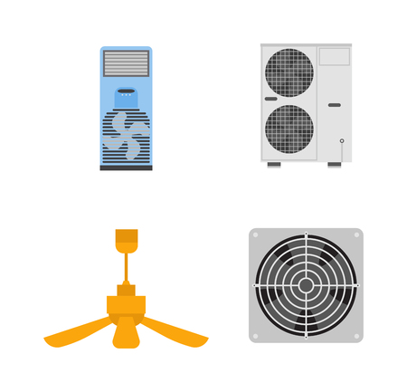 condenser: Industrial fan to remove water damage. Technology electric cooling power equipment industrial fan. Vector ventilation turbine industrial fan cold conditioner vent engine blade condition construction.