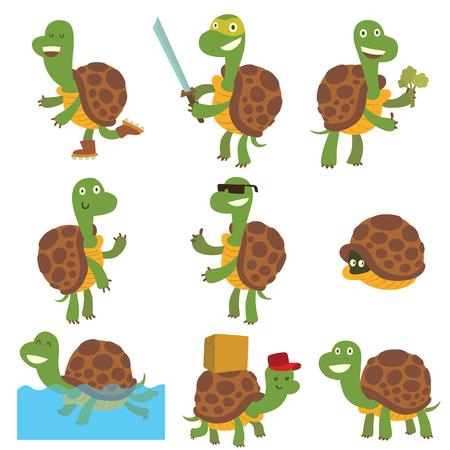 Śliczne żółw cartoon ilustracji wektorowych. Egzotyczne kreskówki? Ó? Te kreskówki charakter szczęśliwy zielony zabawa gadów. Tropikalna terrapin charakter cartoon żółwie morskich zestawu. Naturalna ikona komiksu podwodnego. Ilustracje wektorowe