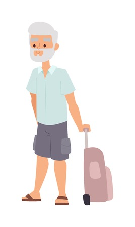 people traveling: Summer old man people vacation traveling. Vacation old people happy family travel. Traveling pensioner man on vacation character vector illustration. Illustration