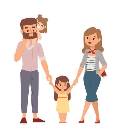 Schöne junge Familie Porträt und glückliche Familie Porträt. Family Portrait Zusammengehörigkeit Mann lächelnd schön, Frau cute baby Familienporträt. Familienportrait Eltern Erwachsener fröhliche Menschen. Standard-Bild - 59341648