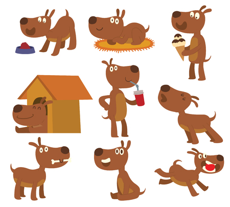 pedigree: Set of dog character vector format sitting, standing pedigree design. Vector set of funny terrier cartoon dogs mammal playful animal. Cute dog and puppy icons puppy domestic friend.