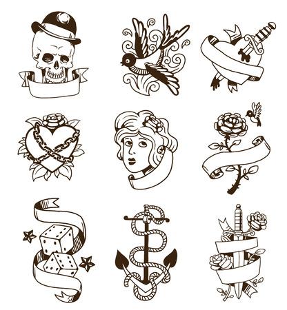 Old school tattoo elementen vector set. Cartoon vector tattoos in grappige stijl: anker, dolk, schedel, bloem, ster, hart en oude vintage inkt hand getrokken tatoeage. Vrouw het hoofd steeg doornen en gewond hart Vector Illustratie