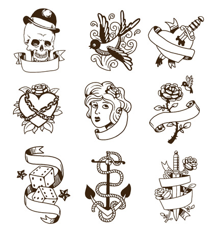 Old school tattoo elements vector set. Cartoon vector tattoos in funny style: anchor, dagger, skull, flower, star, heart and old vintage ink hand drawn tattoo. Woman head rose thorns and wounded heart