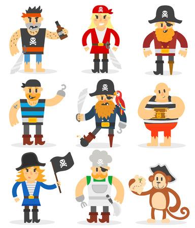 Group of cartoon pirates with swords. Cartoon pirates character with sword, hat, skull and monkey. Funny cartoon pirates happy sailor boy costume. Fantasy kid adventure sea treasure man.