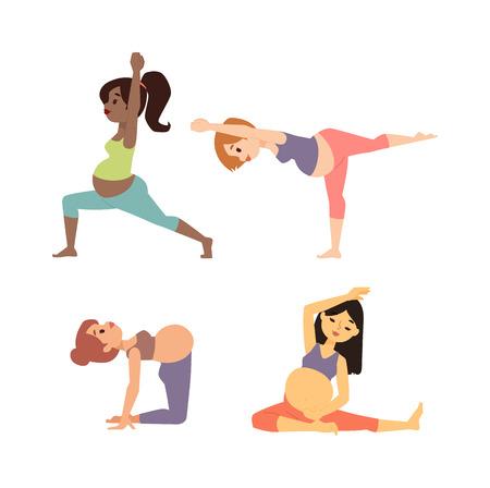 Meditando sobre la maternidad mujer embarazada meditando mientras está sentado posición de yoga de fitness estilo de vida saludable carácter vectorial. yoga embarazada hermosa estilo de vida saludable y la aptitud del yoga embarazada.