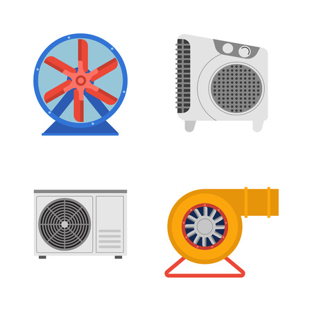 turbine engine: Industrial fan to remove water damage. Technology electric cooling power equipment industrial fan. Vector ventilation turbine industrial fan cold conditioner vent engine blade condition construction.