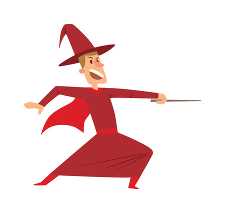 mystery man: Magicians and wizards imagination, wich human performance magician and mystery wizards show. Magicians and wizards illusion show old man imagination, performance character vector. Illustration