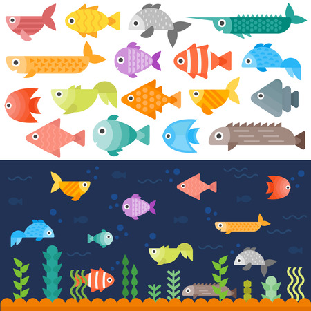 underwater fishes: Tropical underwater fishes collection on white background. Colorful aquarium exotic underwater fishes. Coral animal ocean water marine underwater fishes set. Environment landscape diving beauty.