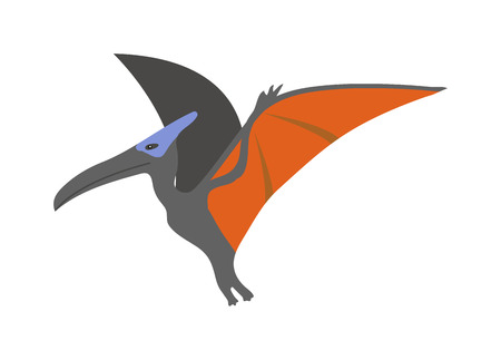 extinct: Funny cute pterodactyl dinosaur educational game characters for kids. Prehistoric flying reptile pterodactyl dinosaur vector. Dangerous pterodactyl dinosaur jurassic extinct cartoon monster. Illustration