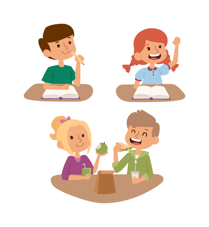 preschool classroom: School kid going study, childhood happy primary education character vector. School kid education and happy school kid study at primary school. School kids preschool classroom.
