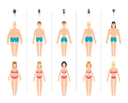ilustración vectorial tipos de cuerpo femenino. Los tipos de cuerpo mujeres anatomía constitución de reloj de arena delgadas proporciones establecidas. Estilo de los tipos de cuerpo de la cintura rectángulo silueta de la figura figura femenina. Moda cuerpo de niña de belleza.