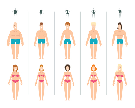 Female body types vector illustration. Body types slim anatomy constitution hourglass women proportions set. Style rectangle waist body types figure shape female silhouette. Fashion girl beauty body.