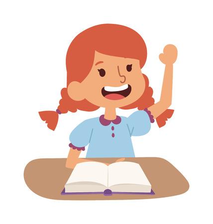 Scholier meisje op het bureau met boek in de klas. Scholier persoon studie leuke klas. Schoolkinderen bureau. Scholier onderwijs basisschool leren, terug naar school-concept
