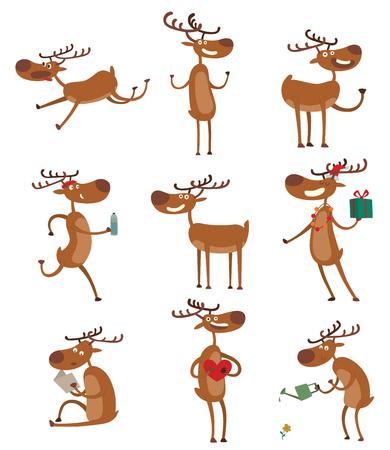 antler: Cute deer cartoon running comic wild vector character. Vector wild mammal cartoon deer celebration, humor mascot. Elk antler clip art holiday symbol stag nature cartoon deer forest animal set. Illustration