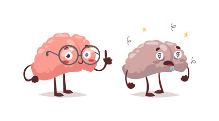 Stupid and clever vector grimace concept. Smart funny mind education, isolated stupid and clever brains. Human intelligent communication stupid and clever people brain organ concept. Illustration