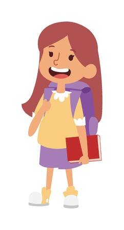 School kid going study, childhood happy primary education character vector. School kid education and happy school kid study at primary school. School kids preschool classroom.