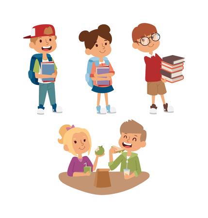 comedor escolar: ni�o de la escuela de estudio en marcha, infancia feliz educaci�n primaria car�cter vectorial. la educaci�n y el estudio ni�o de la escuela ni�o de la escuela feliz en la escuela primaria. ni�os de la escuela en el aula de preescolar. Vectores
