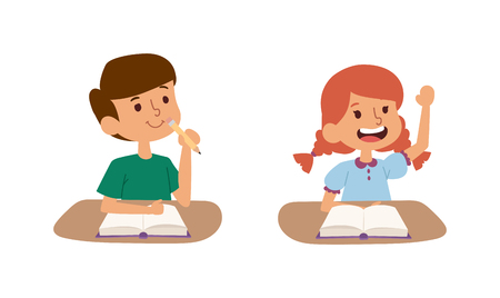 schoolkids: Group school kids with pens and notebooks writing test in classroom. School kids person study cute classroom. School kids desk. School kids education elementary school learning and people vector.