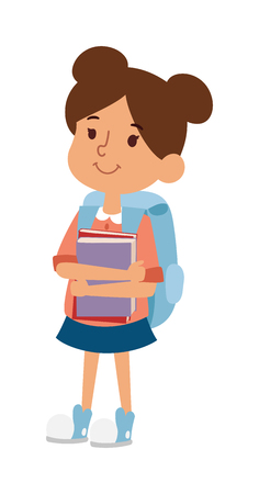 primary education: School kid girl study, childhood happy primary education character vector. School kid girl education and happy school kid study primary school. School kids preschool classroom.