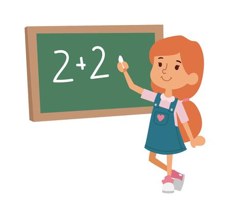 niño de la escuela de estudio en marcha, infancia feliz educación primaria carácter vectorial. la educación y el estudio niño de la escuela niño de la escuela feliz en la escuela primaria. niños de la escuela en el aula de preescolar.
