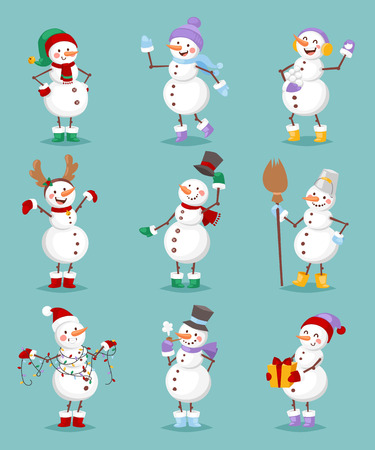 Vector cartoon set of cute white snowman in different clothes with different attributes of Christmas in hands on white background. Color cartoon snowman characters. Vector cartoon snowman set. Illustration
