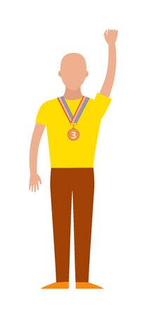 winning team: Trophy sports awards and winner team people. Winner athlete and young champion sports awards fitness trophy cup. Winning runner with winners, success competition sports awards character flat vector. Illustration