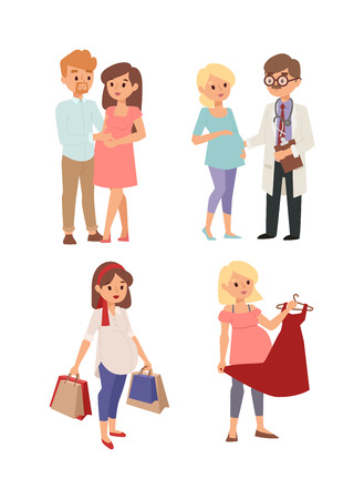 anticipation: Young pregnant woman, pregnancy female belly expecting beautiful future mother character vector. Pregnant woman lifestyle and pregnant women lifestyle happy mathernity woman. Love parent motherhood.