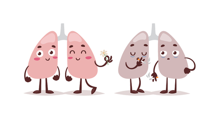 kill: Smoke kill stop smoking no tobacco day vector concept. Tobacco danger cigarette health smoke kill lungs characters. Smoke kill toxic, disease illness lungs warning creative respiratory care.