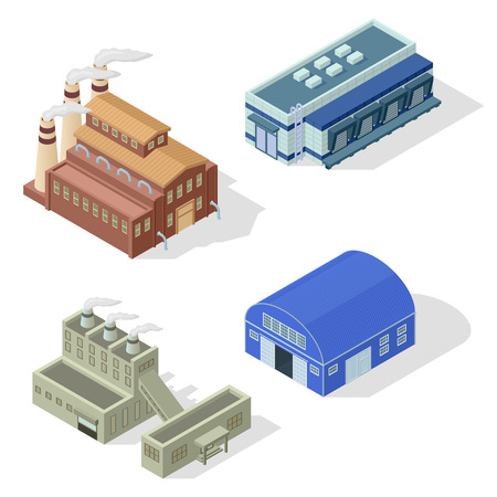 production area: Collection of isometric industrial buildings and other factory objects. Modern structure isometric factory combine together industrial area. Isometric factory production warehouse construction.