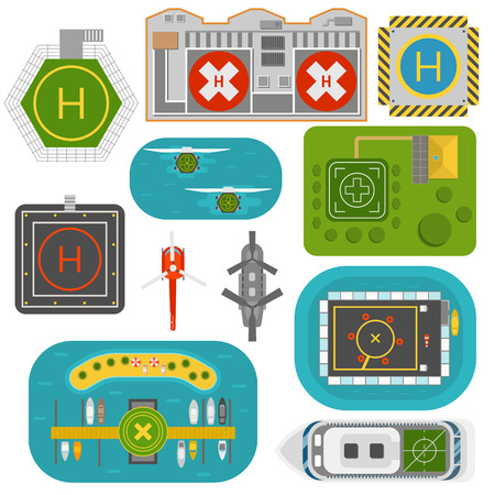 sea view: Helicopter landing pad vector set. Pilot transport skyline industry landing exterior helicopters landing. Helicopters landing pad aviation city platform. Takeoff vehicle tourism heliport sign.