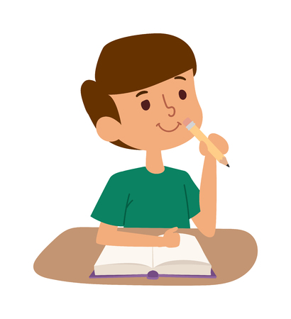 schoolkid: School kid boy on desk with book in classroom. School kid person study cute classroom. School kids desk. School kid education elementary school learning, back to school concept