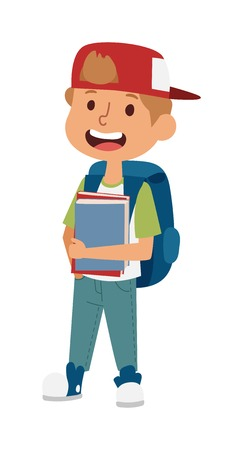 primary education: School kid going study, childhood happy primary education character vector. School kid education and happy school kid study at primary school. School kids preschool classroom.